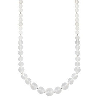 8-16mm Round Graduated Crystal Faceted Necklace with Sterling Silver Ball Clasp