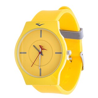 Everlast Slim Men's Round Analog Sport Watch with Yellow Rubber Strap