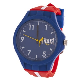 Everlast Men's Round Analog Sport Fashion Watch with Red Rubber Strap
