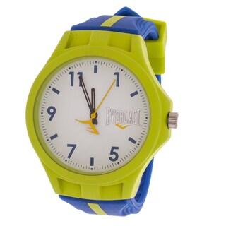 Everlast Men's Round Analog Sport Fashion Watch with Green Rubber Strap