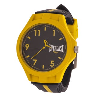 Everlast Men's Round Analog Sport Fashion Watch with Black Rubber Strap
