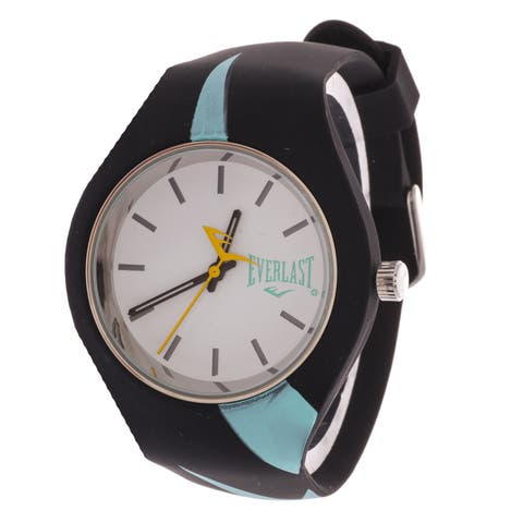Everlast Slim Black Round Sport Analog Watch With Turquoise Rubber Strap