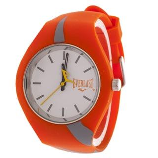 Everlast Slim Orange Round Sport Analog Watch With Rubber Strap