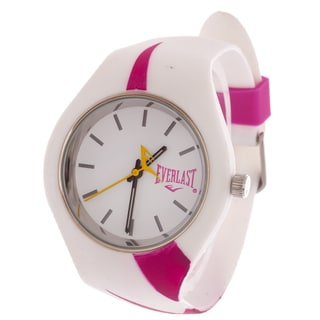Everlast Slim White Round Sport Analog Watch With Rubber Strap