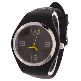 Everlast Slim Black Round Sport Analog Watch With Rubber Strap