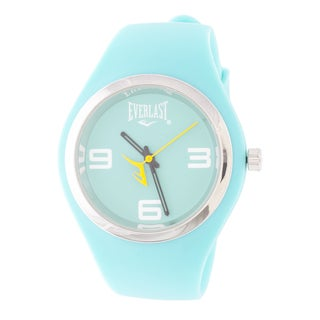 Everlast Slim Blue Round Sport Analog Rubber Watch W/ Silver Ring