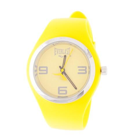 Everlast Slim Yellow Round Sport Analog Rubber Watch W/ Silver Ring