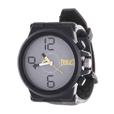 Everlast Jumbo Black Round Sport Analog Rubber Watch W/ Silver Ring - Yellow