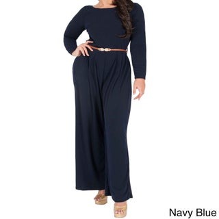 KOH KOH Women's Plus Size Long Sleeve High Waist Flared Cocktail Jumpsuit with Gold Detail Belt (Option: Navy blue - 3X)