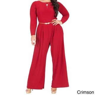 KOH KOH Women's Plus Size Long Sleeve High Waist Flared Jumpsuit