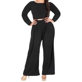 KOH KOH Women's Plus Size Long Sleeve High Waist Flared Cocktail Jumpsuit with Gold Detail Belt