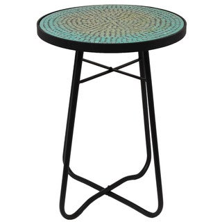 Turquoise Mosaic Round Patio Side Accent Table