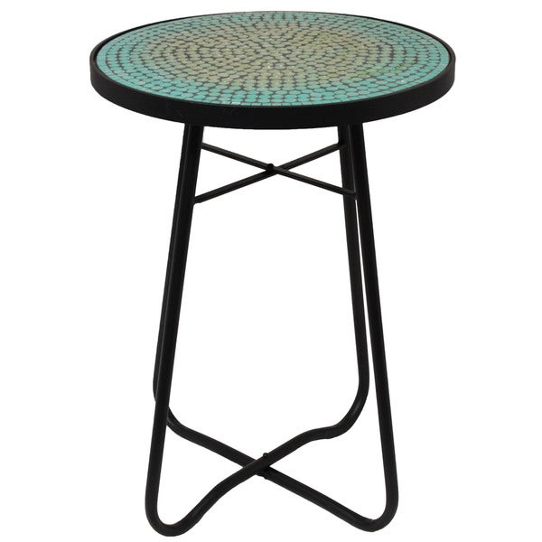 Nice Turquoise Mosaic Round Patio Side Accent Table
