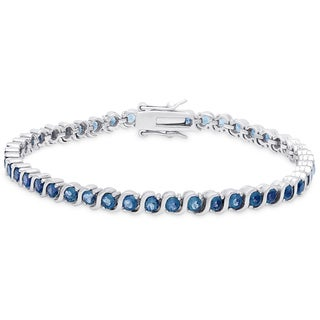 Dolce Giavonna Sterling Silver London Blue Topaz Tennis Bracelet
