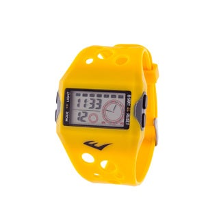 Everlast Retro Men's Digital  Square Sport Yellow Digital  Watch with Silicone  Strap