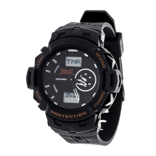 Everlast Sport Men's Analog Digital Round Watch with Black Rubber Strap