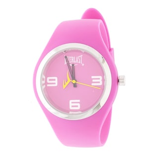 Everlast Slim Pink Round Sport Analog Rubber Watch W/ Silver Ring