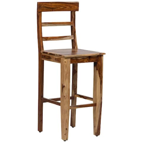 "Handmade Porter Taos Solid Sheesham 30-inch Bar Height Dining Chair Stool (India) - 48""H x 18""D x 18""W"