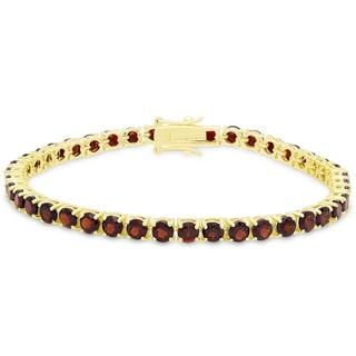 Dolce Giavonna Gold Over Silver Garnet Tennis Bracelet