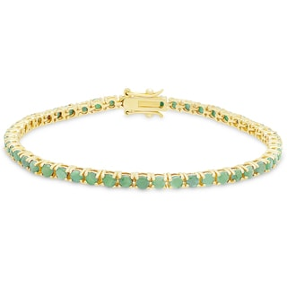 Dolce Giavonna Gold Over Silver Emerald Tennis Bracelet