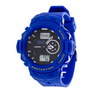 Everlast Sport Men's Analog Digital Round Watch with Blue Rubber Strap - Grey