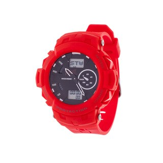Everlast Sport Men's Analog Digital Round Watch with Red Rubber Strap