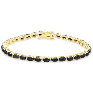 Dolce Giavonna Gold Over Silver Sapphire Tennis Bracelet