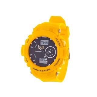 Everlast Sport Men's Analog Digital Round Watch with Yellow Rubber Strap