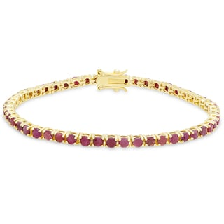 Dolce Giavonna Gold Over Silver Ruby Tennis Bracelet