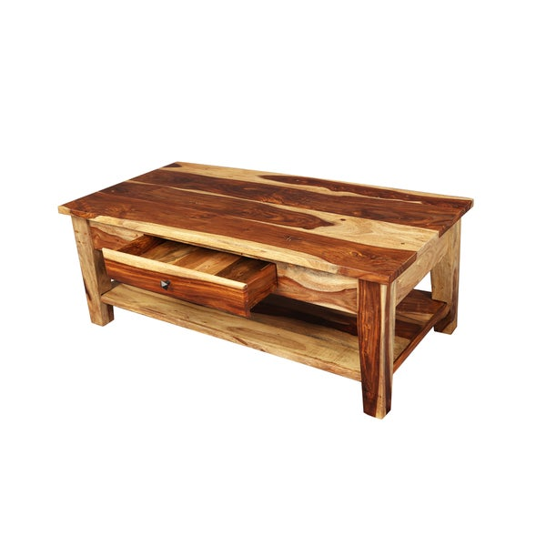 Porter Taos Solid Sheesham Coffee Table With Storage Drawer (India)   Free  Shipping Today   Overstock.com   18308453