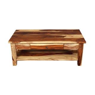 "Handmade Porter Taos Solid Sheesham Coffee Table with Storage Drawer (India) - 18""H x 24""W x 48""L"