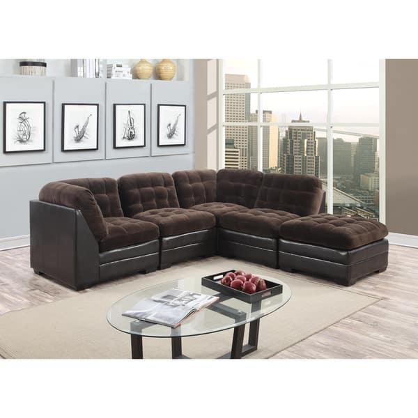 Porter Reid Chocolate Brown Sectional Sofa with Optional Ottoman