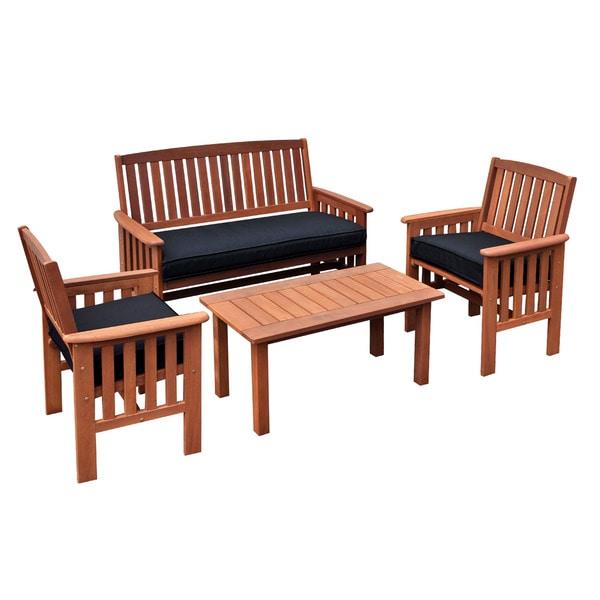 Coffee Table Garden Set: CorLiving Miramar Cinnamon Brown Hardwood 4-Piece Outdoor