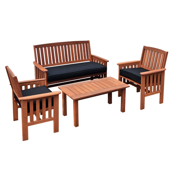 Coffee Table And Chair Sets: CorLiving Miramar Cinnamon Brown Hardwood 4-Piece Outdoor