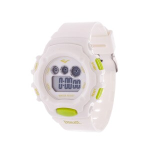 Everlast White Retro Men's Digital Round Sport Digital Watch with Rubber Strap