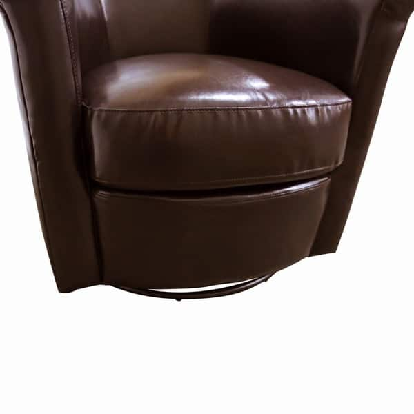 Porter Marvel Espresso Brown Swivel Barrel Accent Chair