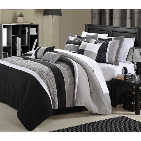 Chic Home Euphrasia 12-Piece King Sized Bed-in-a-Bag Comforter Set