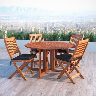 Havenside Home Goodwin Cinnamon Brown Hardwood 5-piece Patio Folding Dining Set
