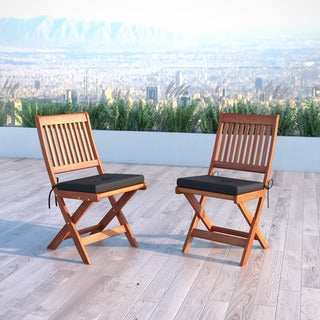 CorLiving Miramar Cinnamon Brown Hardwood Outdoor Folding Chairs (Set of 2)