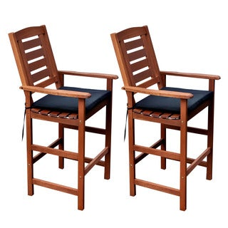 CorLiving Miramar Cinnamon Brown Hardwood Outdoor Bar Height Chairs (Set of 2)