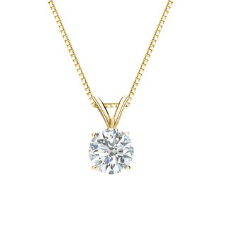 Auriya 14k Gold 3/4ct TDW Round-Cut Diamond Solitaire Necklace (3 options available)