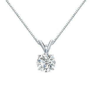 Auriya 14k Gold 3/4ct TDW Round-Cut Diamond Solitaire Necklace (I-J, SI2-SI3)