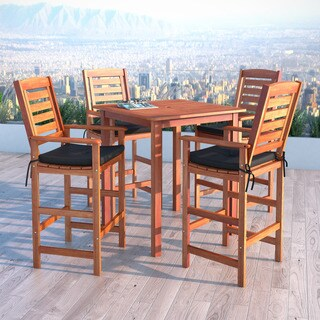 Havenside Home Nahant Cinnamon Brown Hardwood 5-piece Outdoor Bar Height Set
