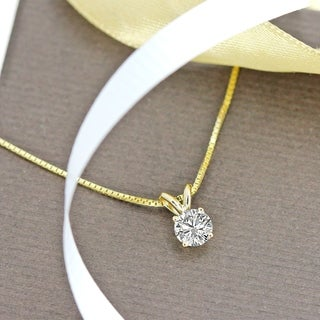 Auriya 14k Gold 3/4ct TDW Round Solitaire Diamond Necklace