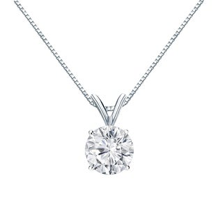 Auriya 14k Gold 1ct TDW Round-Cut Diamond Solitaire Necklace (H-I, VS1-VS2)