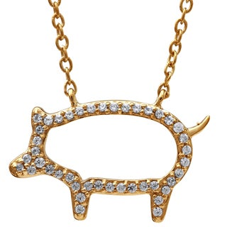 Gold over Silver 1/6ct TDW Diamond Open Pig Pendant