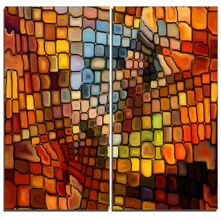 Designart - Dreaming of Stained Glass -2 Pieces Abstract Canvas Artwork