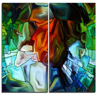 Designart - Abstract Stained Glass Design -2 Pieces Abstract Canvas Print