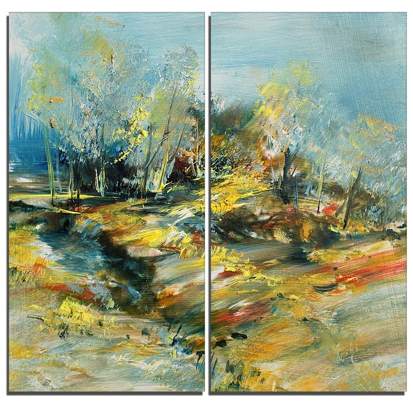 Designart - Abstract Landscape -2 Pieces Abstract Canvas Art Print