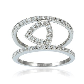 Icz Stonez Sterling Silver Cubic Zirconia Triangle Ring